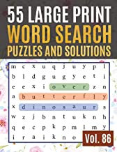 55 Large Print Word Search Puzzles and Solutions: Activity Book for Adults and kids Wordsearch Easy Magic Quiz Books Game for Adults | Large Print ( Find Words for Adults & Seniors Vol. 86 )