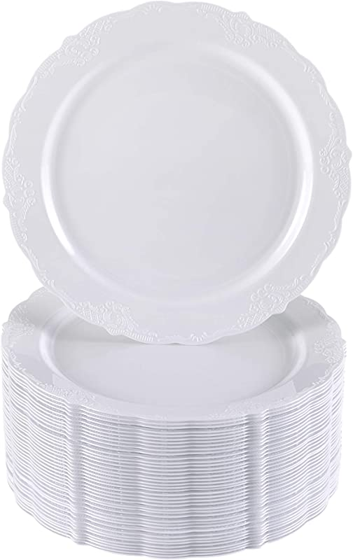 40 Salad Plates For Weddings And Parties Heavy Duty Plastic Vintage White 9