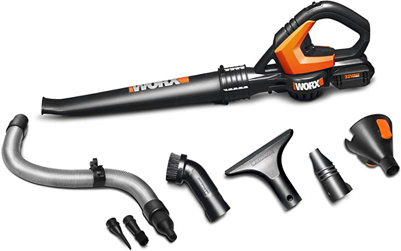 WORX WG575 1 AIR 32V Cordless Battery Powered Leaf Blower Sweeper With Accessory Attachments And Bag
