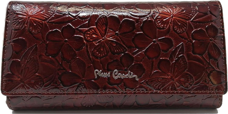 PIERRE CARDIN Cartera para mujer, bonita, grande, espaciosa, piel, rfid, regalo, cartera con monedero, billetera para niña, marrón,