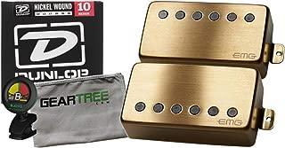 EMG JH James Hetfield Humbucker Pickup Set Gold w/Geartree Cloth, Tuner, and St