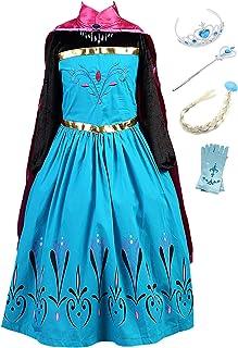 1ff95b735f1 Eleasica Filles Manches Longues Déguisements Robe Longue Cape Princesse Elsa  Reine des Neiges Robe de Soirée