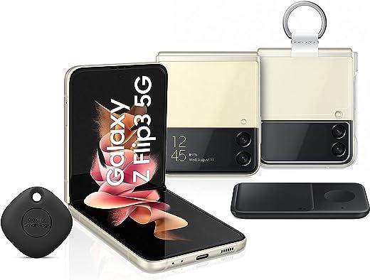 هاتف سامسونج جالاكسي Z Flip3 ثنائي الشريحة - 256 جيجابايت، ذاكرة رام 8 جيجابايت، 5G، كريمي (KSA إصدار) + شاحن لاسلكي مزدوج لهاتف سامسونج + غطاء شفاف مع حلقة + بطاقة سامسونج الذكية