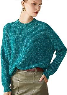 Grneric Autunno e Inverno Nuovo 100% Maglione di Cashmere Femminile Mezza Alta Edizione Allentata di colletti