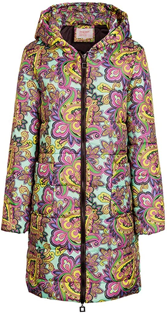 VIVIYY Ladies Hooded Coat,Womens Winter Print Long Down Cotton Quilted Jacket Outwear