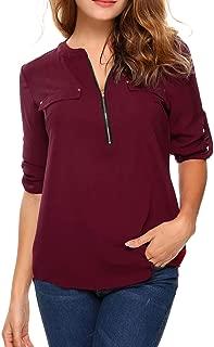 Oyamiki Women Casual V-Neck Long Sleeve Zip Up Shirt Chiffon Polka Dot Blouse Top