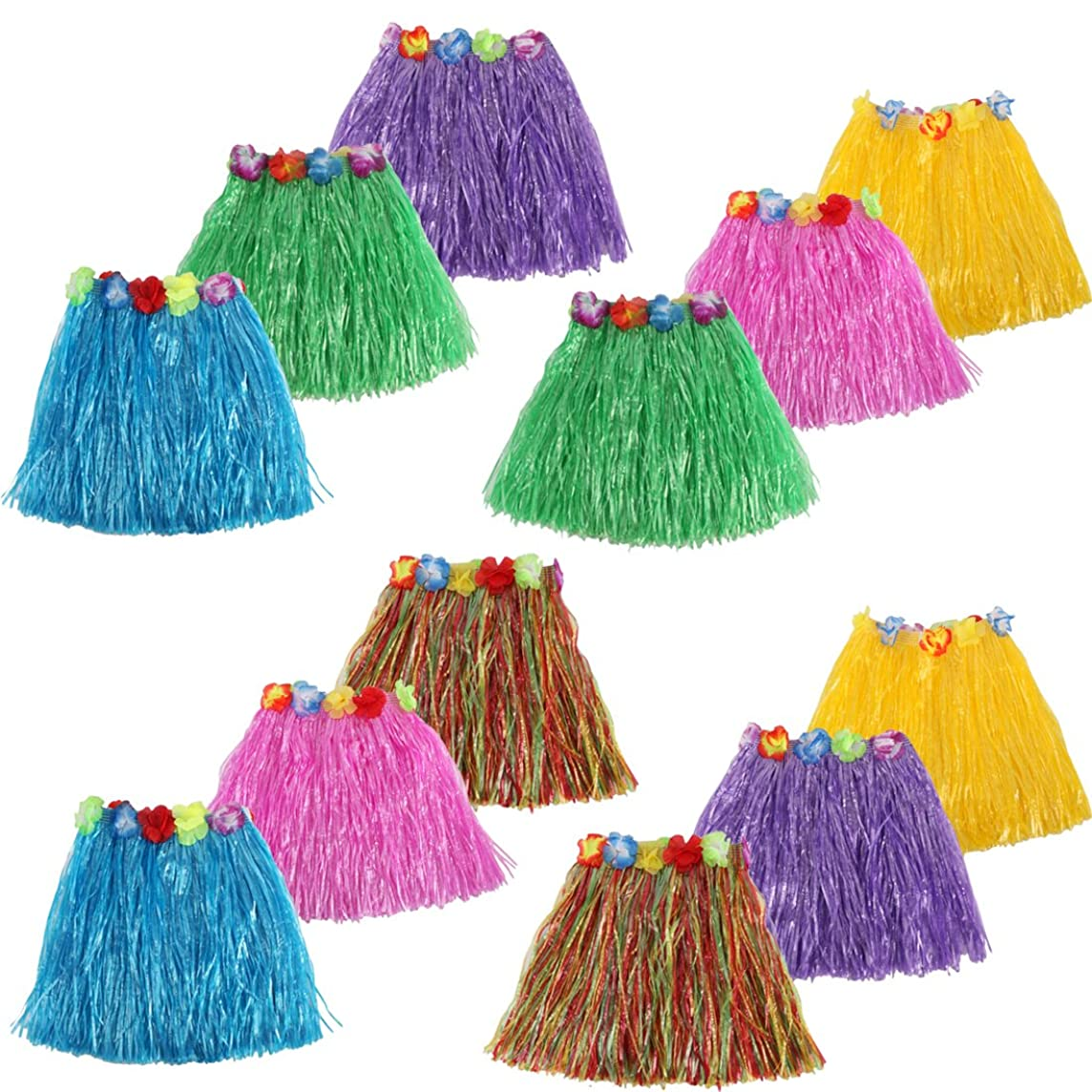 kilofly 12pc Girls Elastic Hawaiian Dancer Grass Hula Skirts Luau Party Favors