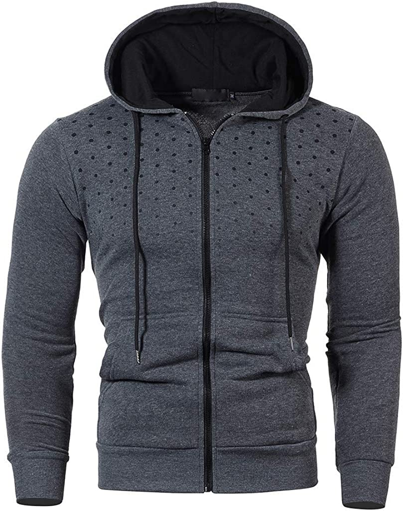 XXBR Zipper Jackets for Mens, Color Block Patchwork Hooded Sweatshirts Polka Dot Print Workout Sports Casual Hoodies
