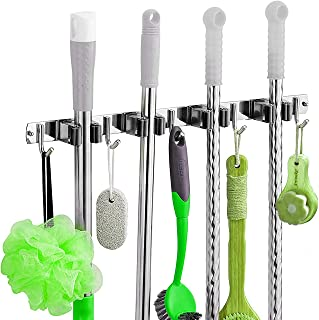 Qedimah Broom Mop Holder Wall Mount, 304 Stainless Steel Storage Organizer Heavy Duty Tools Hanger with 4 Racks 5 Hooks for Bathroom Kitchen Office Closet Garden