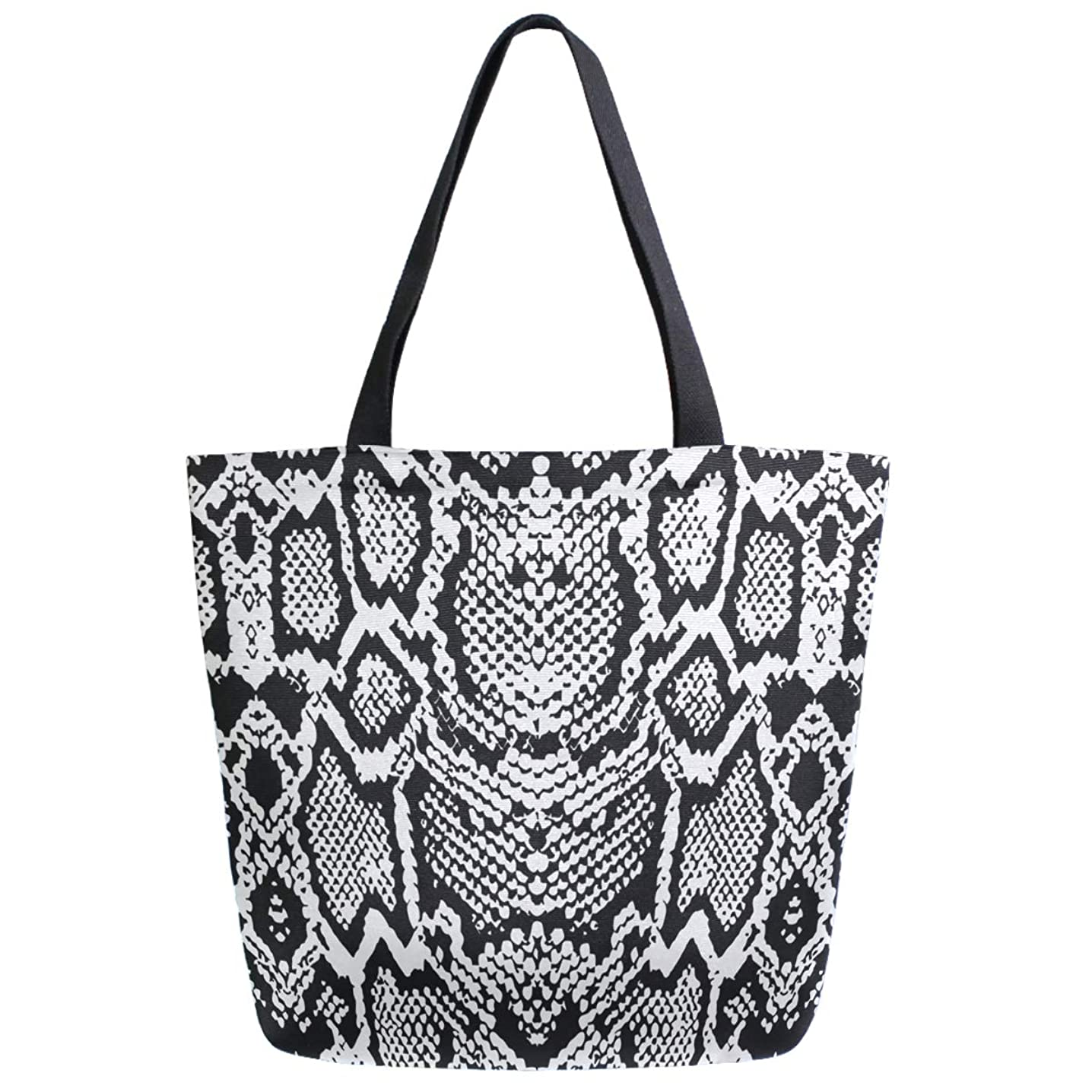 ZzWwR Trendy Black White Snake Skin Print Extra Large Canvas Shoulder Tote Handle Bag for Gym Beach Weekender Travel Shopping