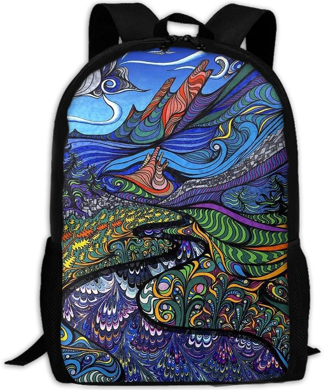 Backpack Laptop Travel Hiking School Bags Monster Legend Daypack Shoulder Bag