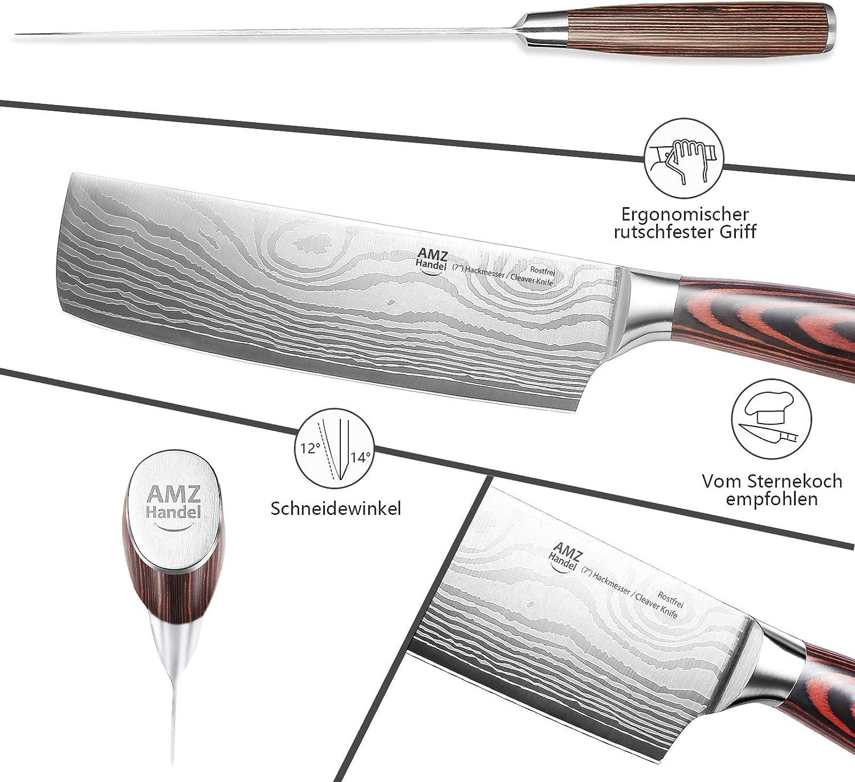 AMZHANDEL/® Hackmesser Profi K/üchenmesser ideal als Hackmesser /& Fleischmesser rostfrei extrem scharf besonders handlich Dank Pakkaholz