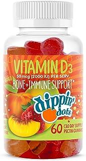 Dippin' Dots - Vitamin D3 Gummies Bone & Immune Support (60 Gummies)| 2000 iu of Vitamin D3 per Serving | Natural Strawber...