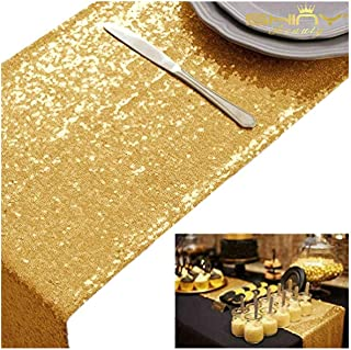 ShinyBeauty Table Covers for Party Gold 10pcs 12x72-Inch Sequin Table Runners Graduation Party Supplies 2018 Gold