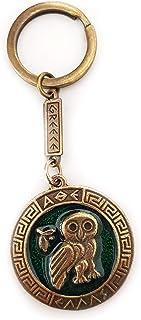 Iconsgr Key Ring Ancient Coin Owl of Athena Shield Goddess Athena Keychain Green