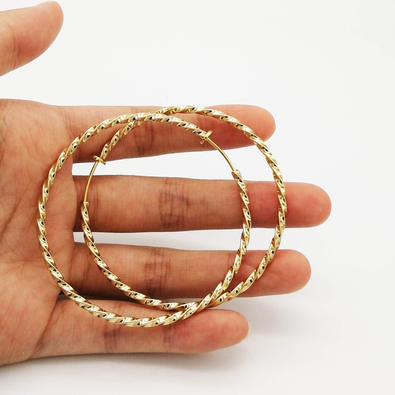 Lanxy Twisted Large Clip On Earrings Gold Tone 1.18IN/1.57IN/1.96IN/2.36IN 4PCS Hoop Earrings Clip On Earrings for Women Girls No Piercing