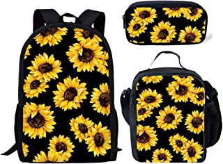 HUGS IDEA Sunfloral Girls Backpack Set Yellow Helianthus Floral Design Kids School Bag and Lunch Box Pencil Case You Are M...