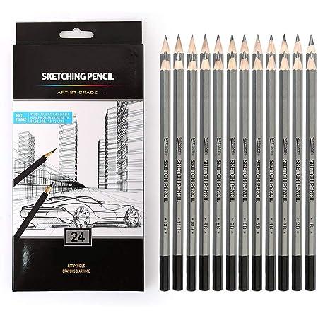 KNAFS 24 Drawing Pencils Set, Art Sketching Pencils 14B, 12B, 10B, 9B, 8B, 7B, 6B, 5B, 4B, 3B, 2B, B, HB, F, H - 9H, Graphite Pencils for Adults & Kid Artists.