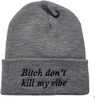 YOXO Winter Warm Knit Fashion Grey Bitch Don't Kill My Vibe Beanie Hat for Men and Women Winter Cap Skully Letter Beanie