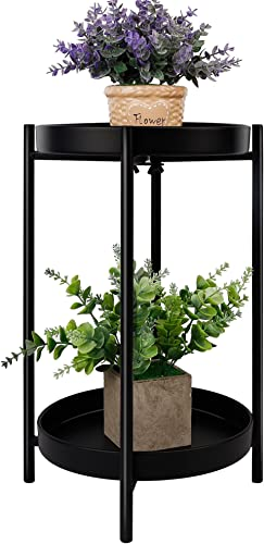 discount yosager Metal Plant Stand for Flower Pot, 16.7 Inch lowest Plant Stands Potted Holder, Weight Capacity 100 lb, Outdoor 2 Tier Plants Display Rack, Shelf Double Tray Garden Round Supports new arrival for Planter online