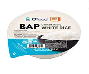 Chung Jung One O'Food BAP, Cooked Sticky White Rice, Ready to Eat, Microwave Safe, Pack of 12