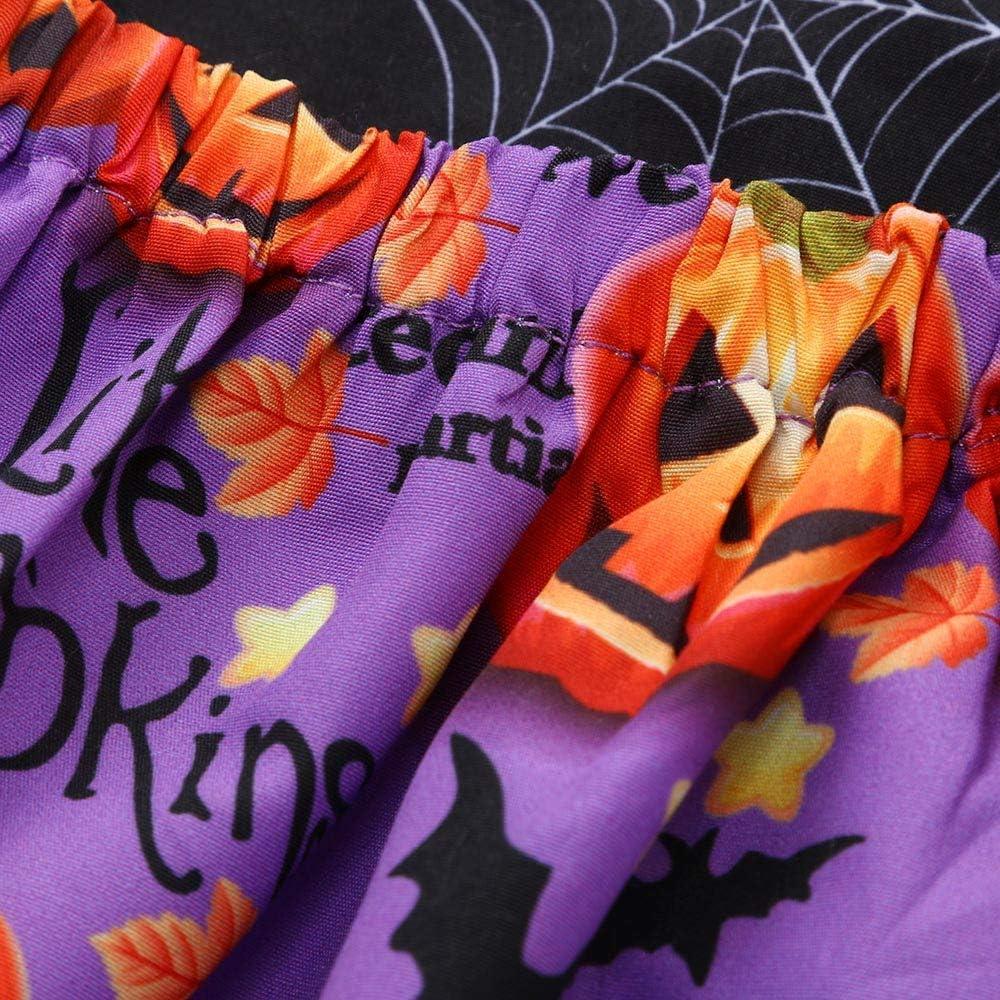 KaiCran Kids Baby Girls Dress Sleeveless Cartoon Pumpkin Print Dress,Cotton Baby Girls Halloween Costume Outfits