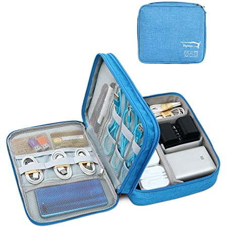 Styleys Double Layer Gadget Organizer Case, Portable Zippered Pouch for All Gadgets, HDD, Power Bank, USB Cables, Power Adapters, etc (Sky Blue - S11029)