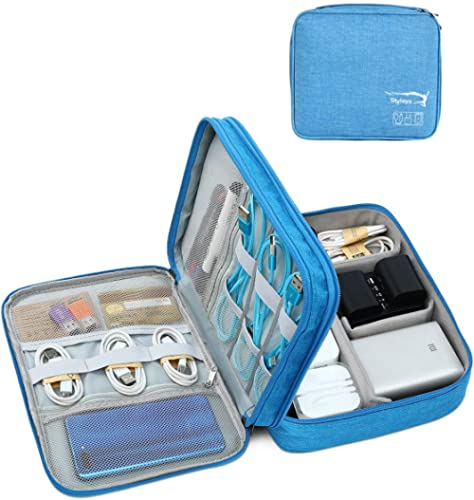 Styleys Double Layer Gadget Organizer Case, Portable Zippered Pouch for All Gadgets, HDD, Power Bank, USB Cables, Pow...