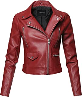 dee587476e6c7 Awesome21 Women s Long Sleeves Zipper Closure Motorcycle Biker Faux Leather  Jacket