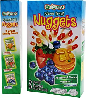 Fruit Juice Nuggets Gift Box Snack - 3 Boxes of 8 pack - Kosher All Natural Flavors Vitamin C - By Au'Some