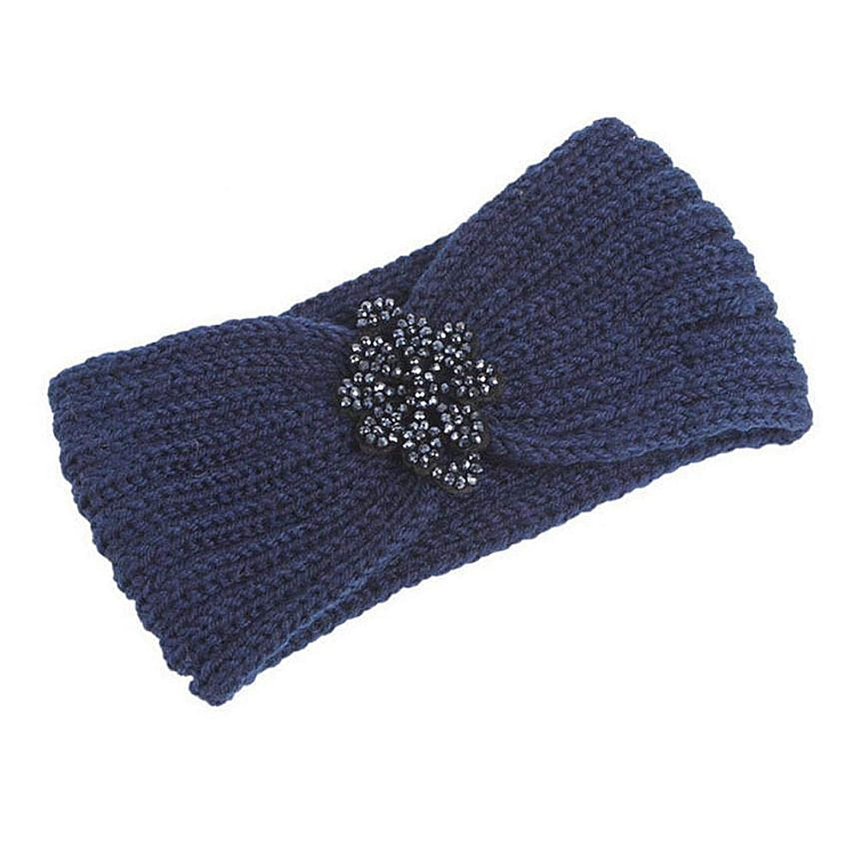 DNAEGH Winter Warmer Ear Knitted Headband Turban,For Lady Women Crochet Bow Wide Stretch Hairband Headwrap Hair Accessories Navy