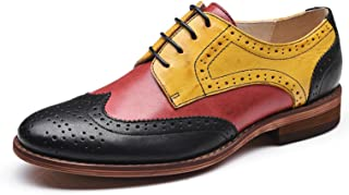 U-lite Women's Perforated Lace-up Wingtip Multicolor Leather Flat Oxfords Vintage Oxford Shoes