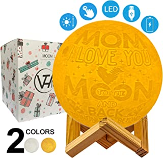 VTH Global Mom I Love You to The Moon and Back Engraved 3D Printed Moon Lamp Personalized Night Lights Customized Christmas Birthday Gifts for Mom Mommy Mother from Daughter Son Kids Children Husband