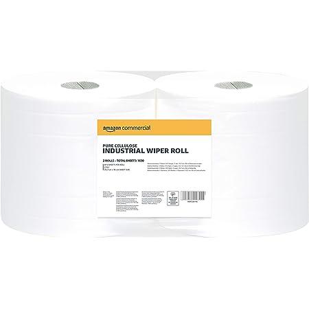 AmazonCommercial essuie-tout double épaisseur industriel, 2 rouleaux, 1630 feuilles