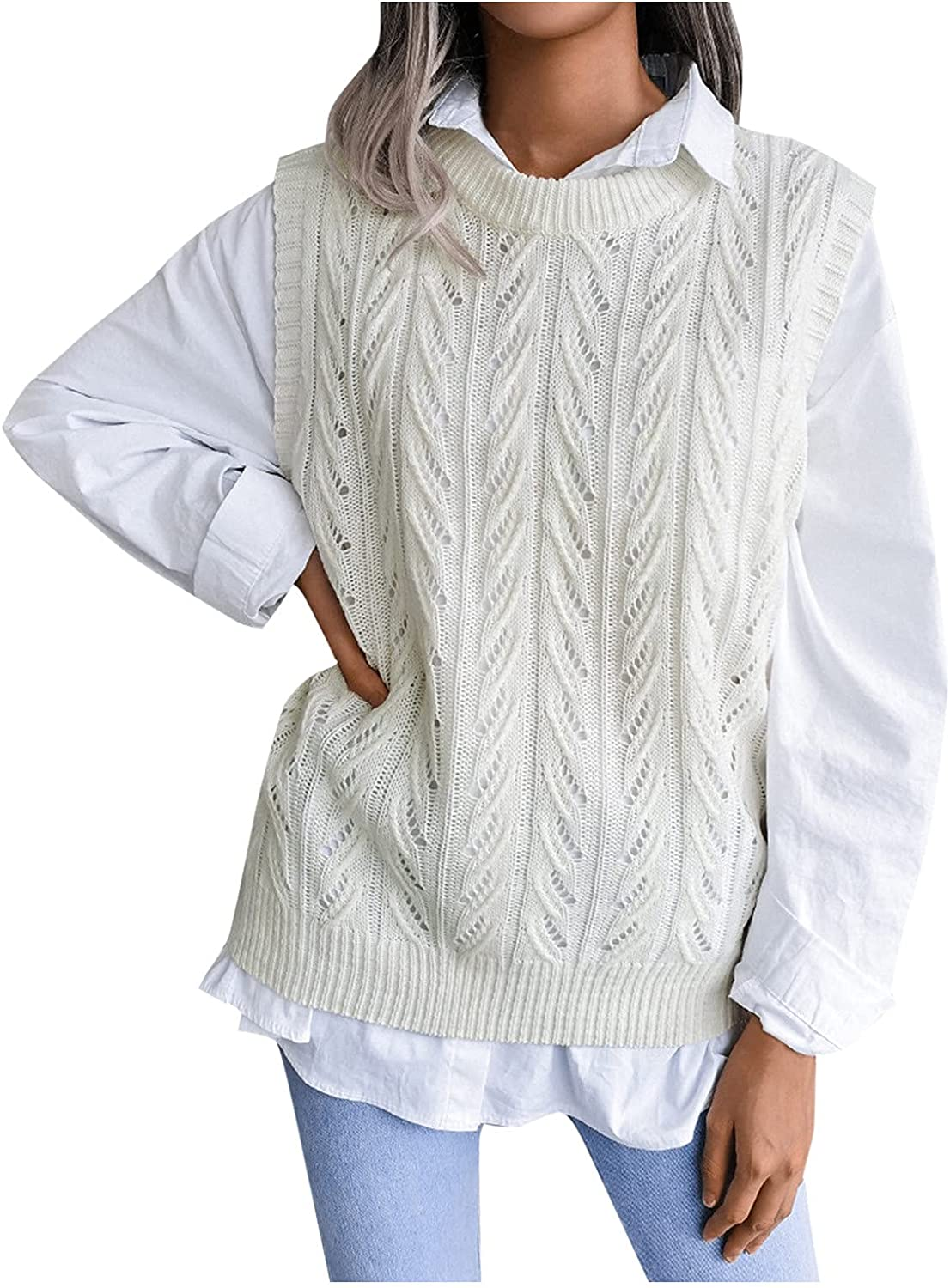 Sweater Vest Women Oversized Crewneck Sleeveless Sweaters Womens Cable Knit Tops