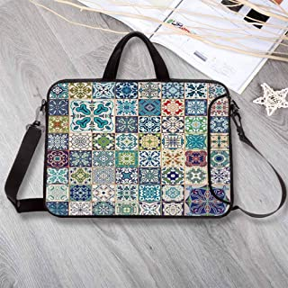 """Moroccan Waterproof Neoprene Laptop Bag,Floral Patchwork Design with Arabesque Figure Mediterranean Symbolic Artisan Work Laptop Bag for Business Casual or School,14.6""""L x 10.6""""W x 0.8""""H"""