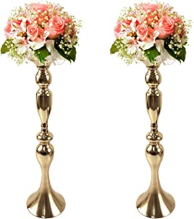 Gold Fortune 2 Pieces 19.5 Inch (50CM) Height Metal Candle Holder Stand Wedding Flower Rack Centerpiece Event (Gold, 19.5
