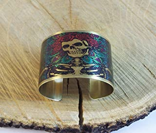 Grateful Dead Theme Image Cuff Brass Bangle Bracelet Handmade Adjustable
