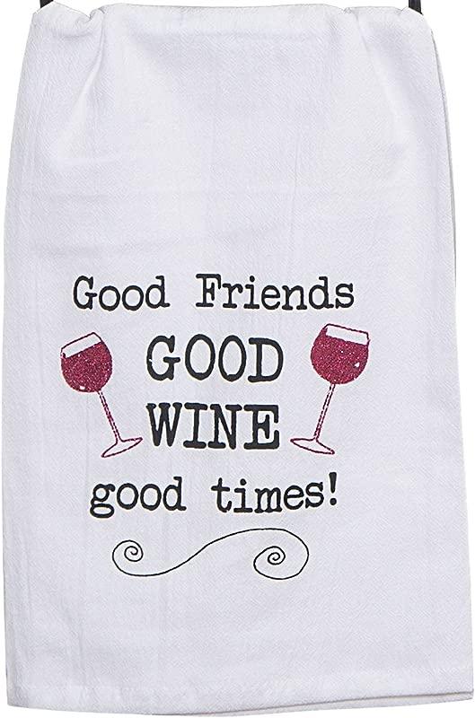 Kay Dee Designs Good Wine Krinkle Flour Sack Towel With Glitter Dye