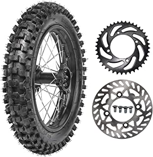 TDPRO 90/100-14 Wheel Tire and Rim Inner Tube With 15mm Bearing & 190mm Rear Brake Disc Rotor & 428 41T Sprocket for Dirt Pit Bike