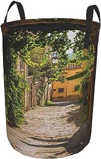 ZOMOY Grand Organiser Paniers pour Vêtements Stockage,Rues De La Toscane Vieille Ville Méditerranéenne Moyen Âge Haute Cul...