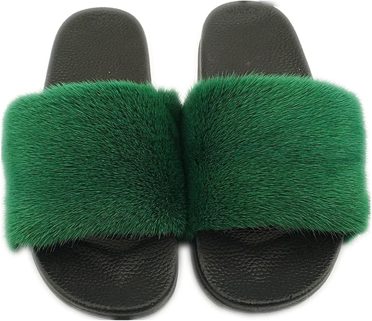 QMFUR Fashion Women's Real Mink Fur Slippers Soft Sole Flat (11, Black-Green)