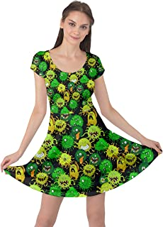 CowCow Womens Colorful Cute Monsters On Black Germs Pattern Cap Sleeve Dress, XS-5XL