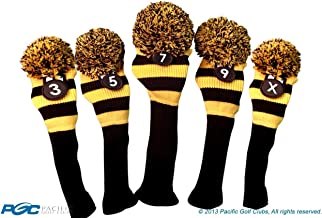 Majek Golf Club 3 5 7 9 X Yellow and Black Limited Edition Fairway Wood Head Covers Tour Knit Retro Vintage Pom Classic Long Neck Metal Longneck Woods Headcovers