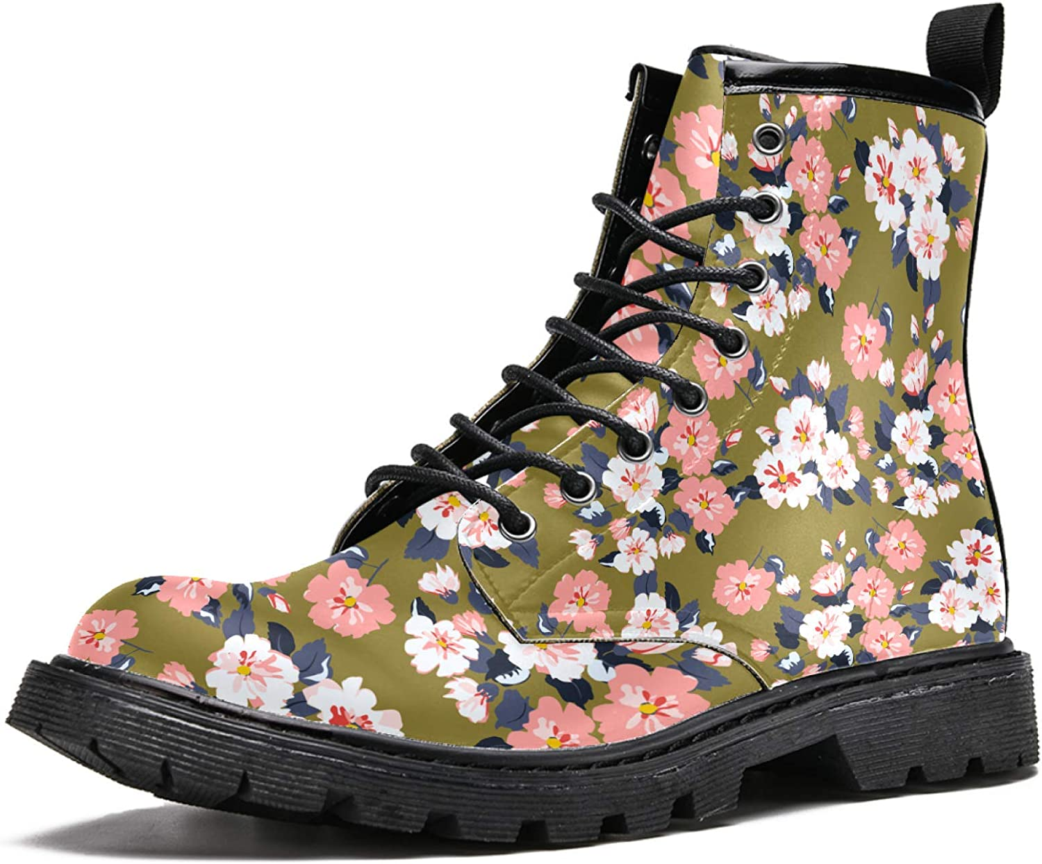 Women's Classic Dealing full price reduction 16-Eye PU Leather Flowers Boot Year-end gift Vintage Feedsack