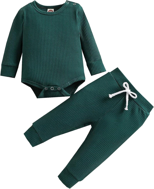 Newborn Infant Baby Girl Boy Pants Set Long Sleeve Bodysuit Long Pants Solid Ribbed Fall Winter Set