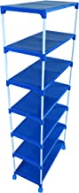 Dhani Creations Latest Attractive Blue Plastic Shelves with White Metal Rods Shoe Racks for Houseware 7-Tier Shoe Rack with Wheels Storage Organizer