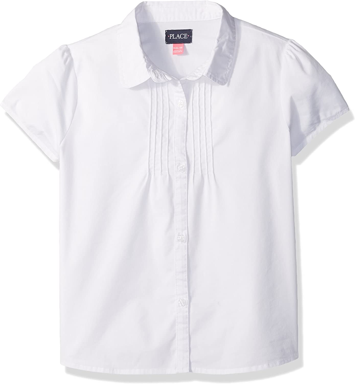 The Children's Place Girls' Short Sleeve Pintuck Poplin Button Down Shirt