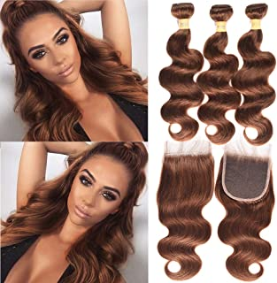 WOME Brazilian Hair Body Wave Bundles with 4x4 Lace Frontal Closure Pure Color #4 Medium Brown Human Hair Weaves Extensions (14 16 18+14closure)