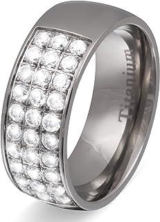 Jewellery Beautiful Silver Regnum Titanium Rings Engagement Ring Wedding Women's Ring Titanium Cubic Zirconia and Free Personalised Engraving NRT8D
